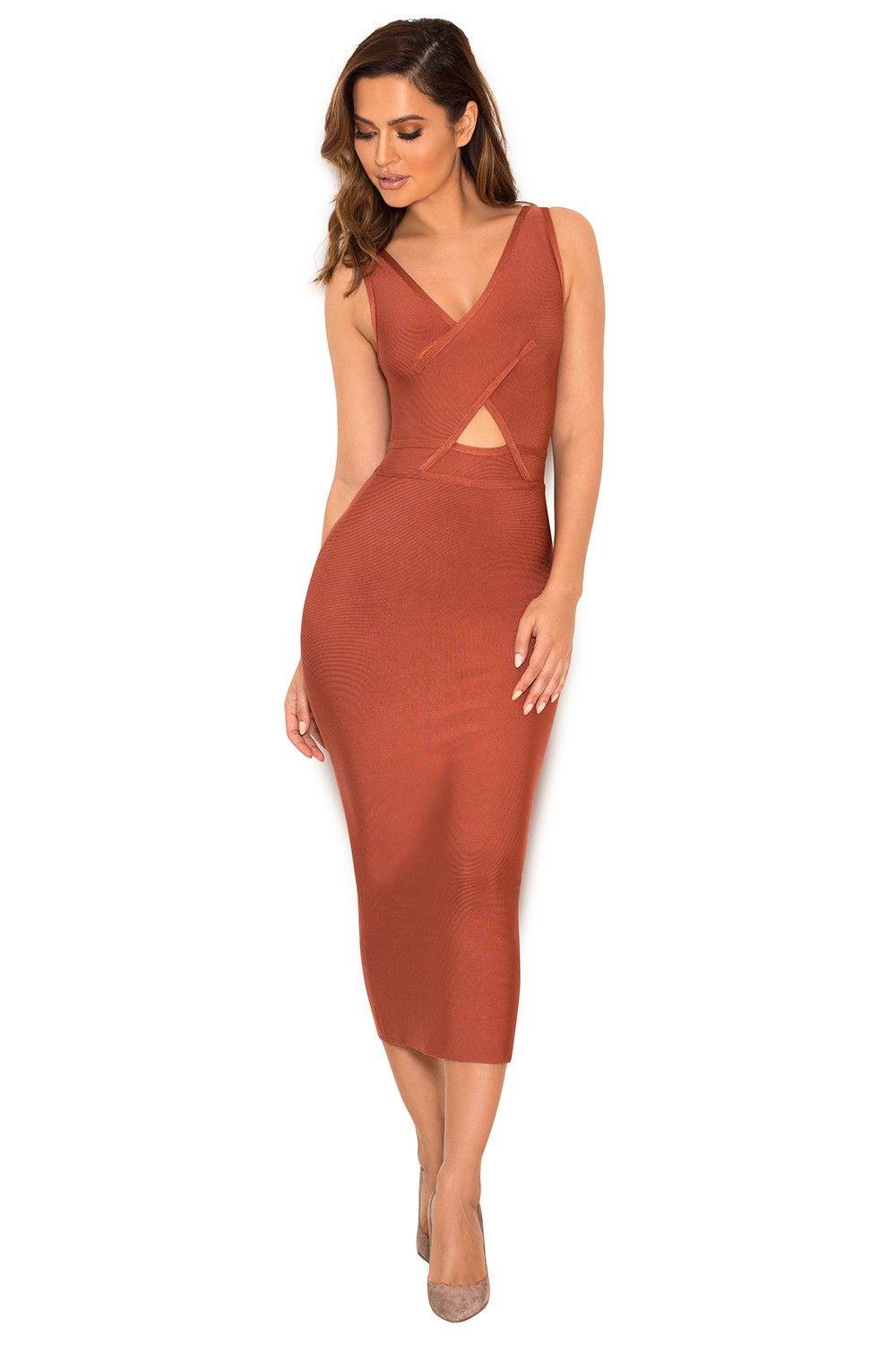 Clothing : Bandage Dresses : \'Feray\' Russet Crossover Bust Bandage ...