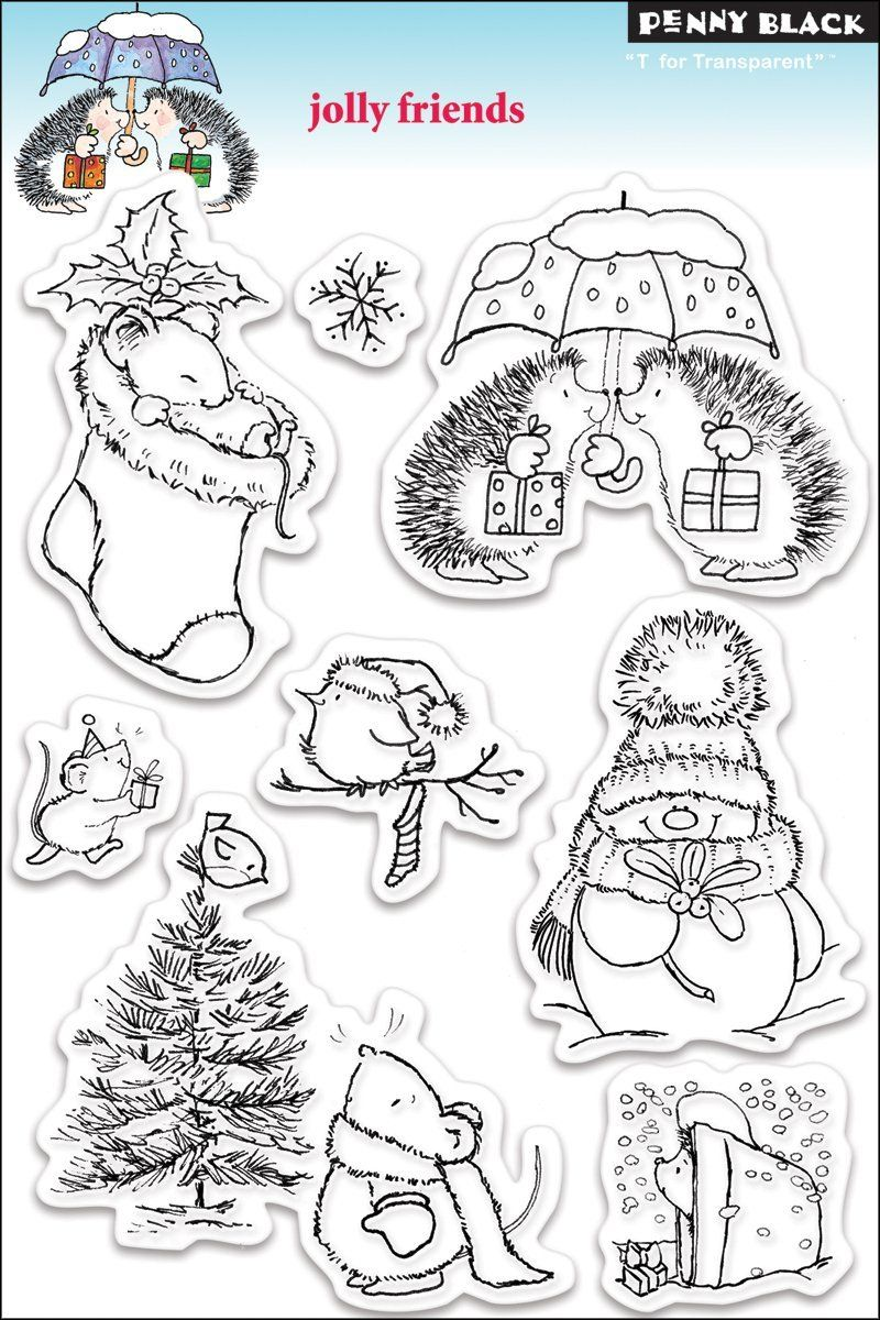 Amazon.com - Penny Black Clear Stamp Set, Jolly Friends - Decorative Rubber Stamps