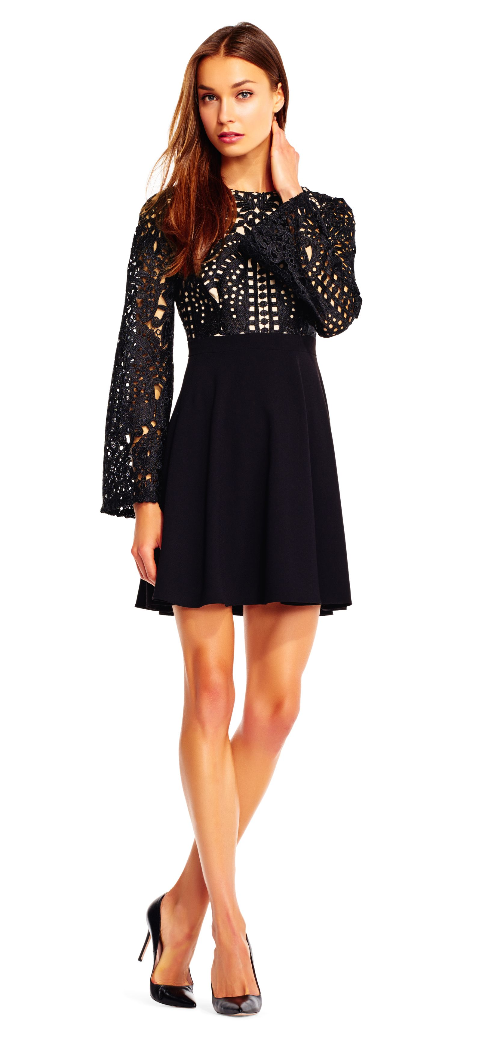 Long sleeve aline dress with embroidered lace bodice