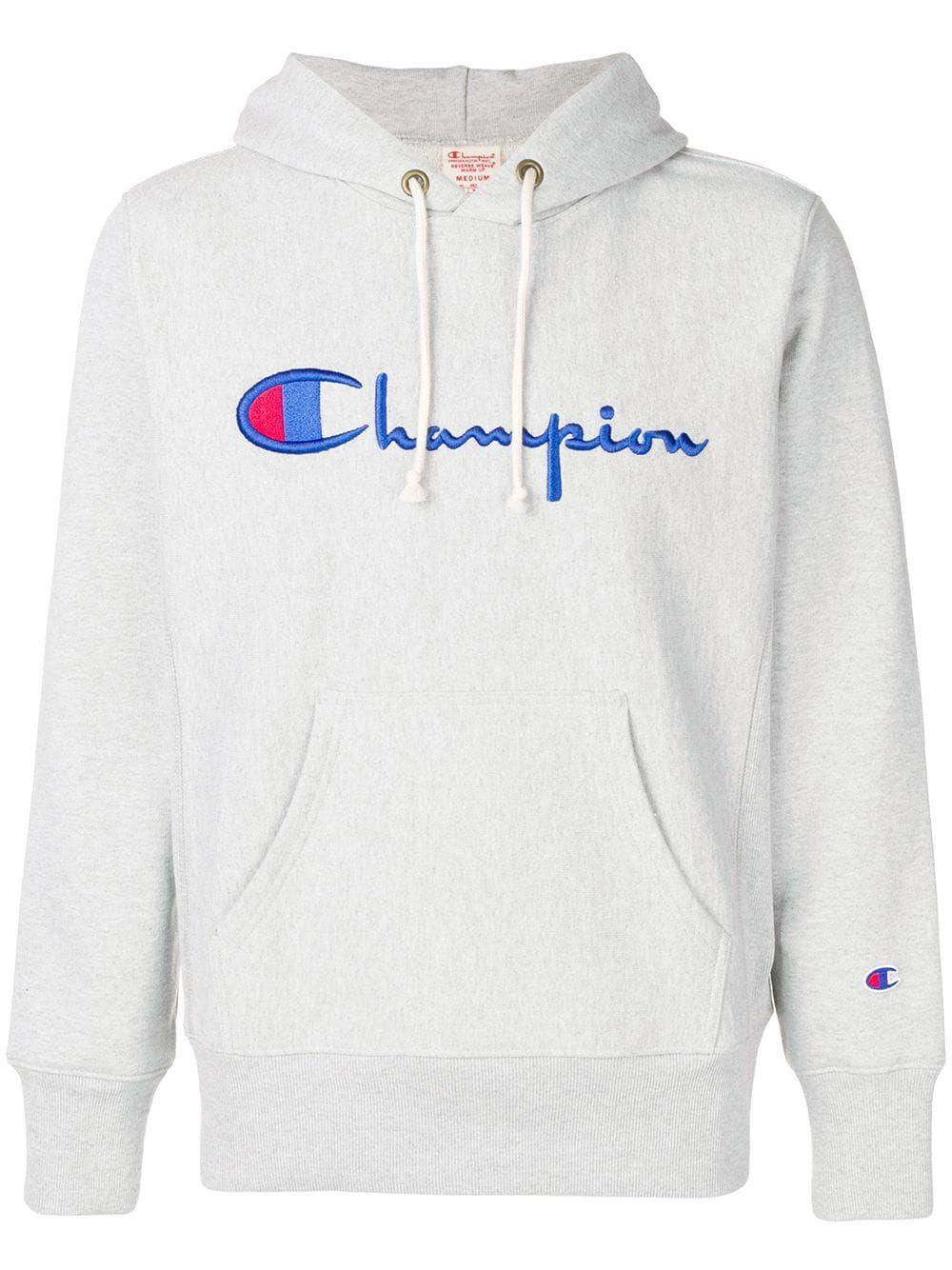 Champion Embroidered Logo Hoodie Farfetch Hoodies Champion Hoodie Women Hoodie Outfit Men [ 1334 x 1000 Pixel ]
