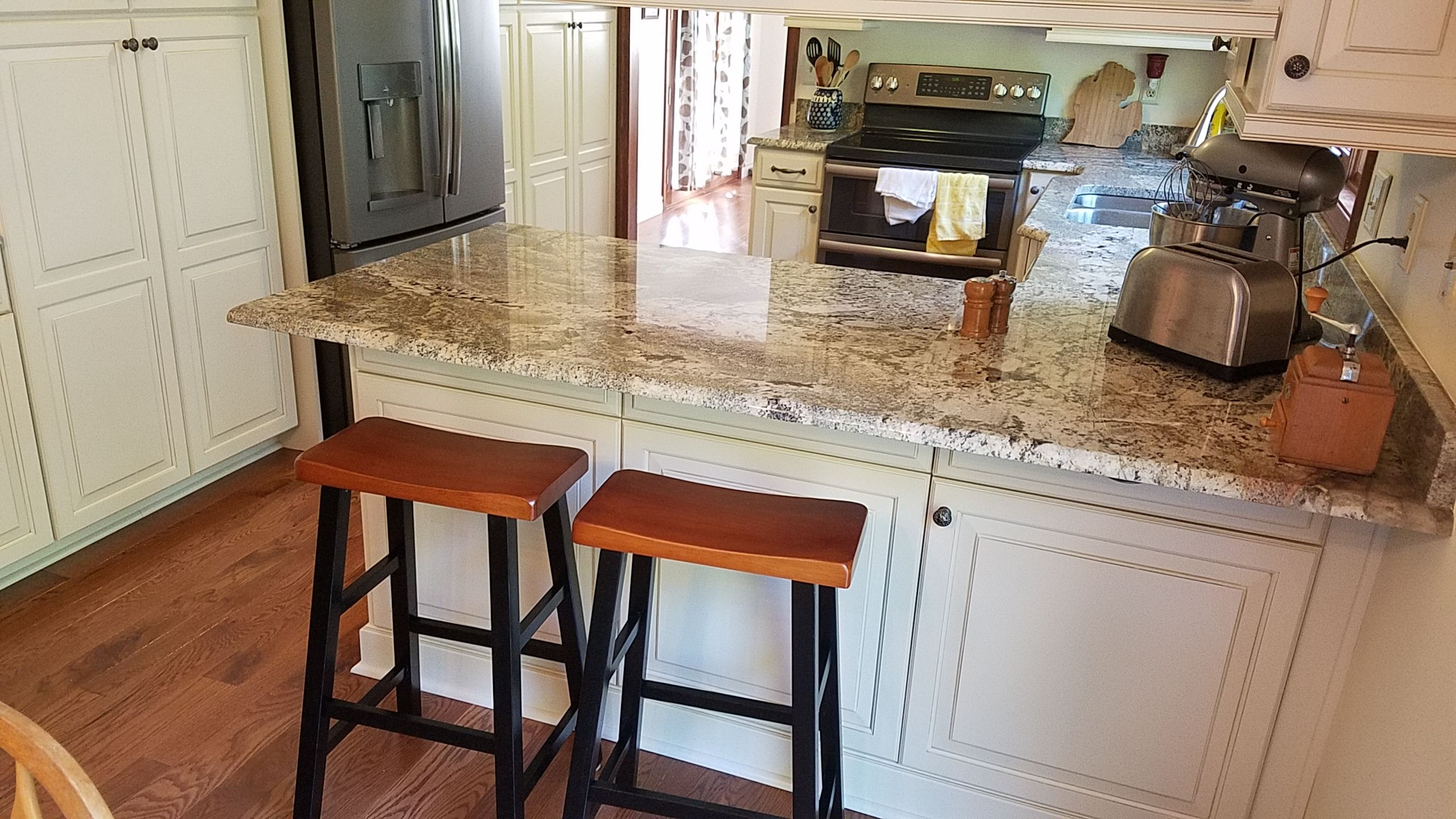 Additional Guest Seating Added To The Countertop Area Overhang Added Furniture Panels Minic The Cabinet Doors Where Cabinet Kitchen Design Kitchen Countertops