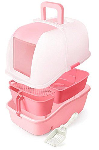 Catidea Luxury Sifting Hooded Cat Litter Box Cl1 Pink Pet Cat Litter Box Litter Box Litter