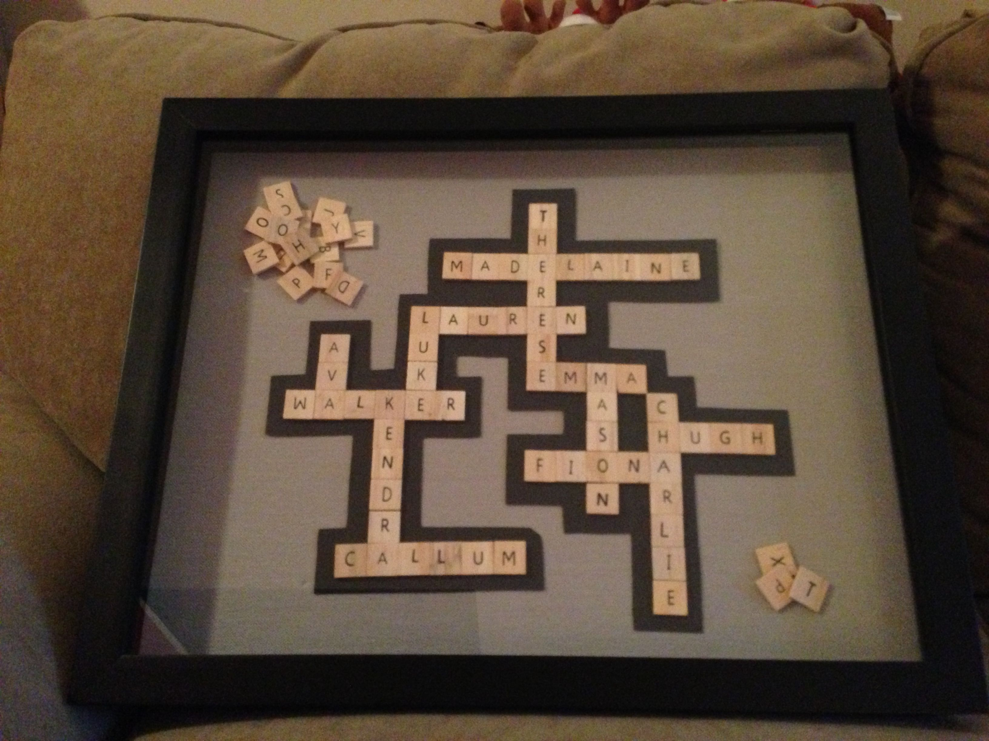 Scrabble letters in shadow box frame Grandkids names :) | fabric ...