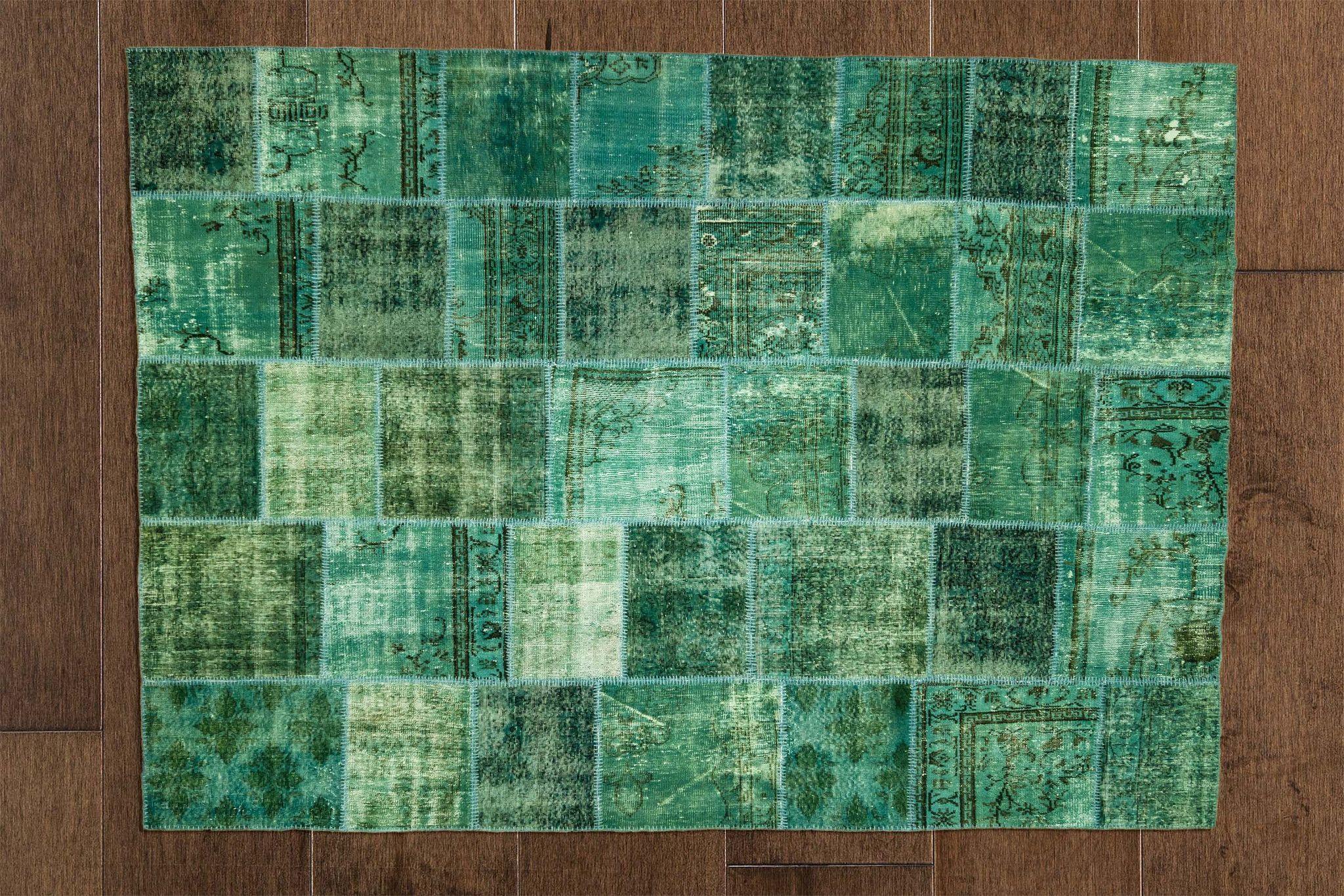Mediterranean Greens Vintage Patchwork Rug