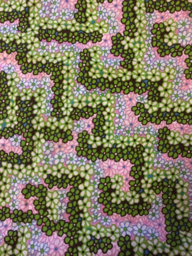 Vintage Floral Fabric Remnant 60s 70s Large Piece Nearly 3 Metres