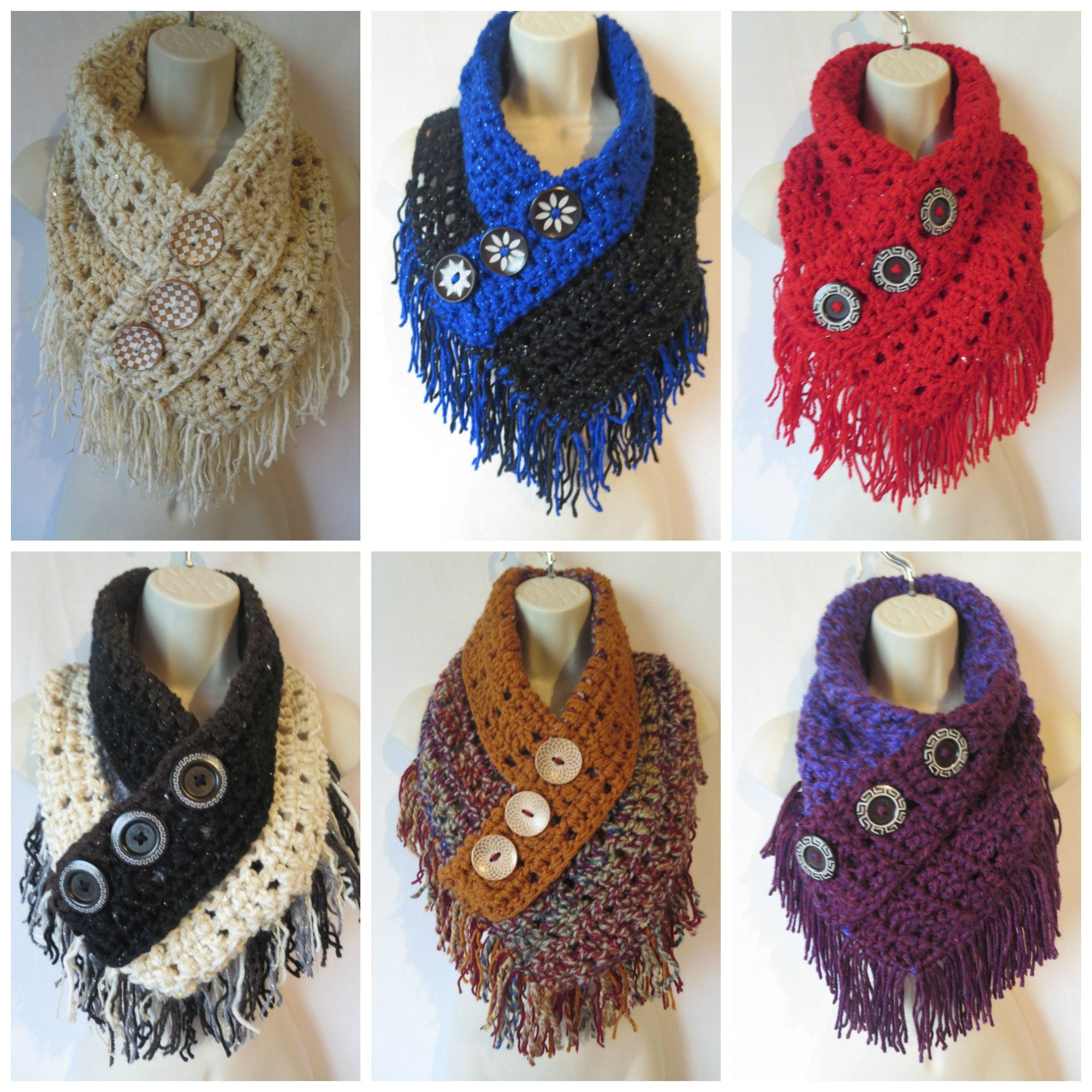 Crochet fringe triangle cowl scarf pattern PDF instant download ...