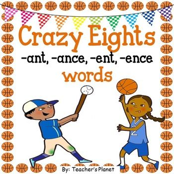 Crazy 8's  -ANT, -ANCE, -ENT, and -ENCE WordsThis fun and engaging game focuses on the following word endings: -ANT, -ANCE,  -ENT, and -ENCEThis fun game teaches vocabulary and increases fluency in reading. Students have fun learning and love this game!There are a total of 48 cards.Also included are vocabulary lists with the words and the definitions and a practice list to check off words that are mastered.Here are other Language Arts products:Reading Games -SION, CION and AGE wordsReading…