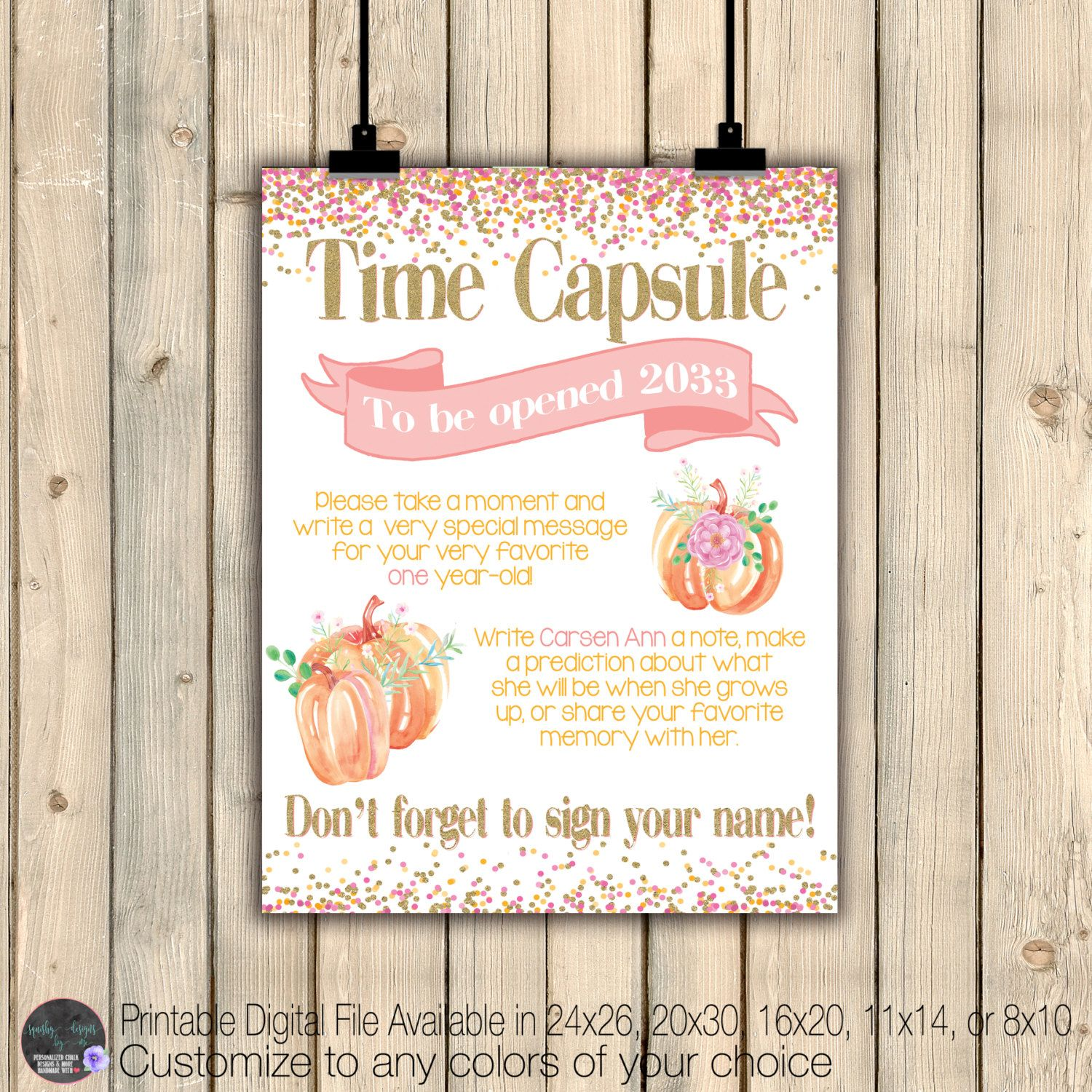 Fancy Watercolor Pumpkins Birthday Time Capsule Instructions Sign Poster First 1st Birthday Keepsake Pumpkin Birthday Birthday Keepsakes Watercolor Pumpkins