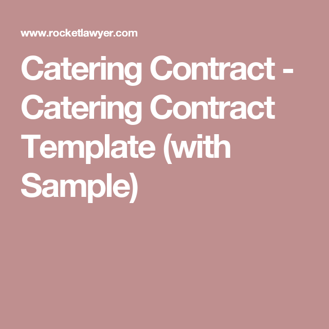 Catering Contract  Catering Contract Template With Sample