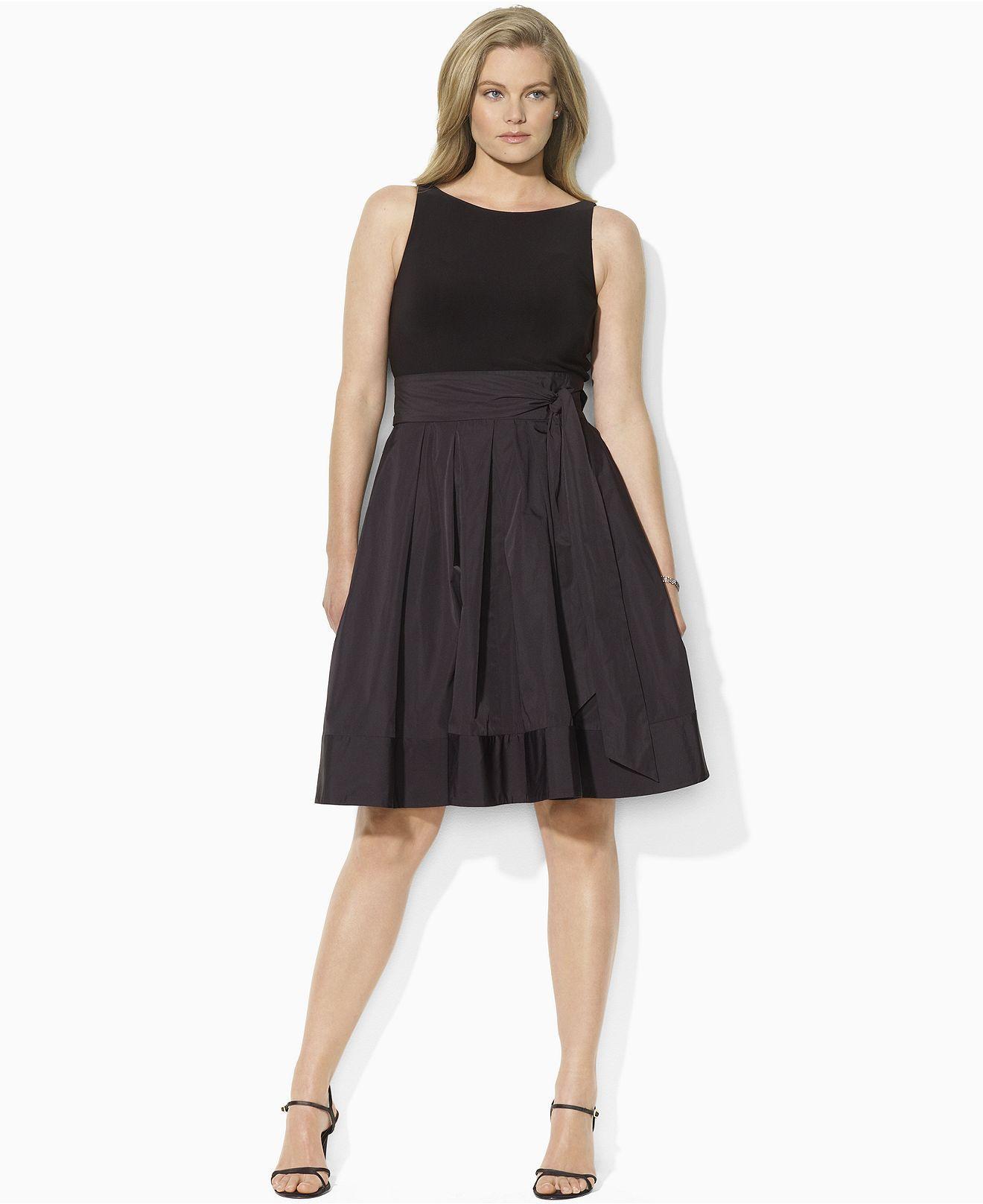 Lauren By Ralph Lauren Plus Size Dress Pleated Cocktail Dress