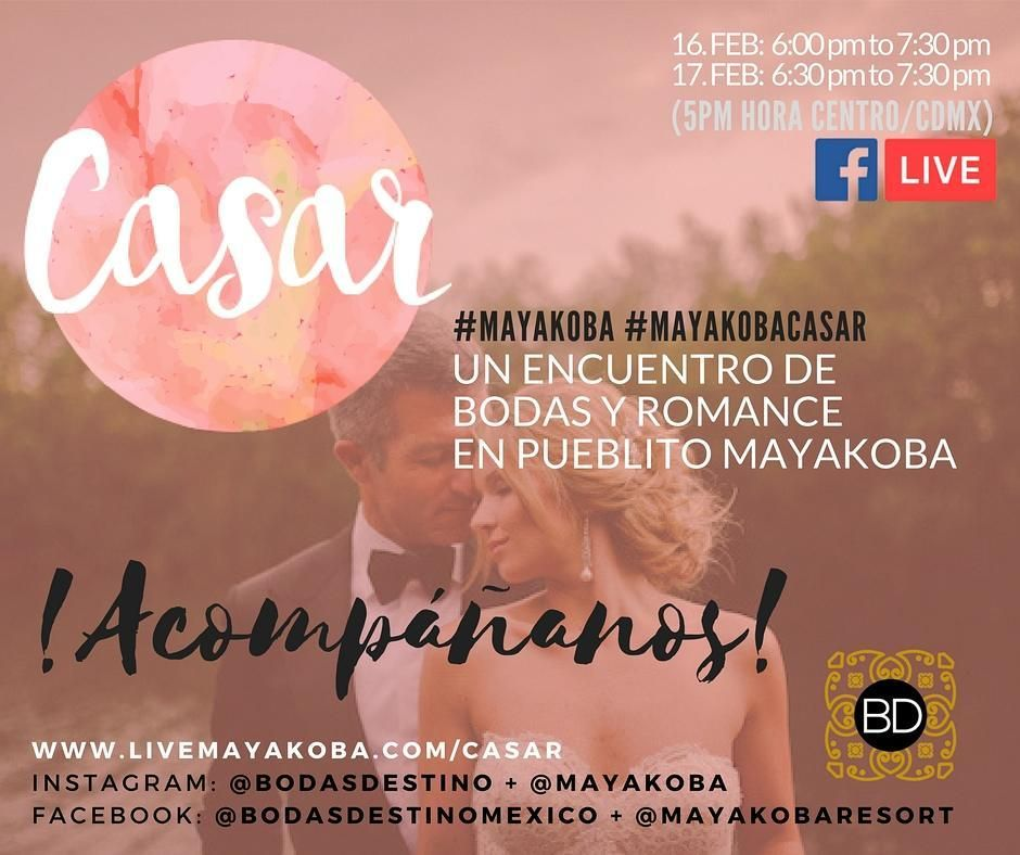 Hoy todos a #Mayakobacasar para un sinfín de #inspiracion con expertos en bodas y experiencias de romance que se reúnen en #mayakoba para competir ideas propuestas y servicios de primer nivel desde #RivieraMaya un lugar único para exclusivos eventos. #travelthursday  5.15PM HORA DE CDMX Y 6.15PM HORA CANCUN (Tips de maquillaje con la cuenta de @sara_tamargo_makeup_and_hair 3.30PM hora de Cancun y 2.30PM hora CDMX)