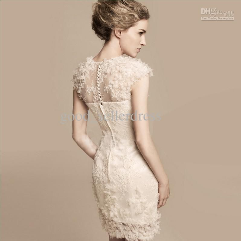 Y Sheath Wedding Dresses Champagne Petals Designer Short Fashion Bridal Gowns High Quality Lace