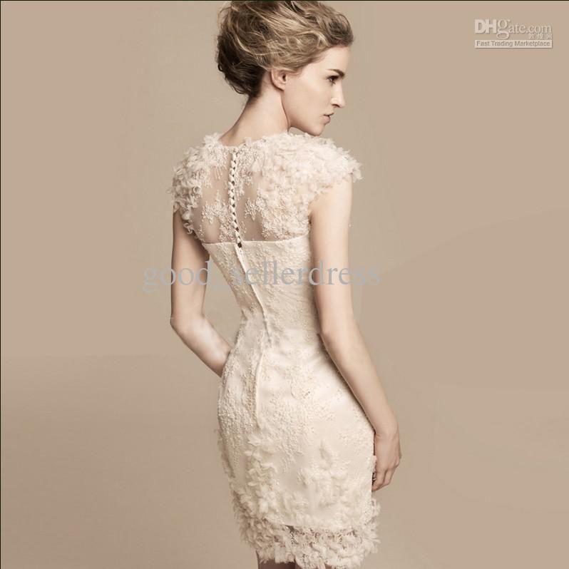 Sexy Sheath Wedding Dresses Champagne Petals Designer Short Fashion Bridal Gowns High Quality Lace