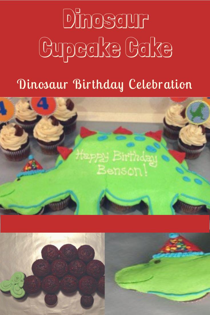 Homemade Dinosaur Cupcake Cake Diy Dinosaur Birthday