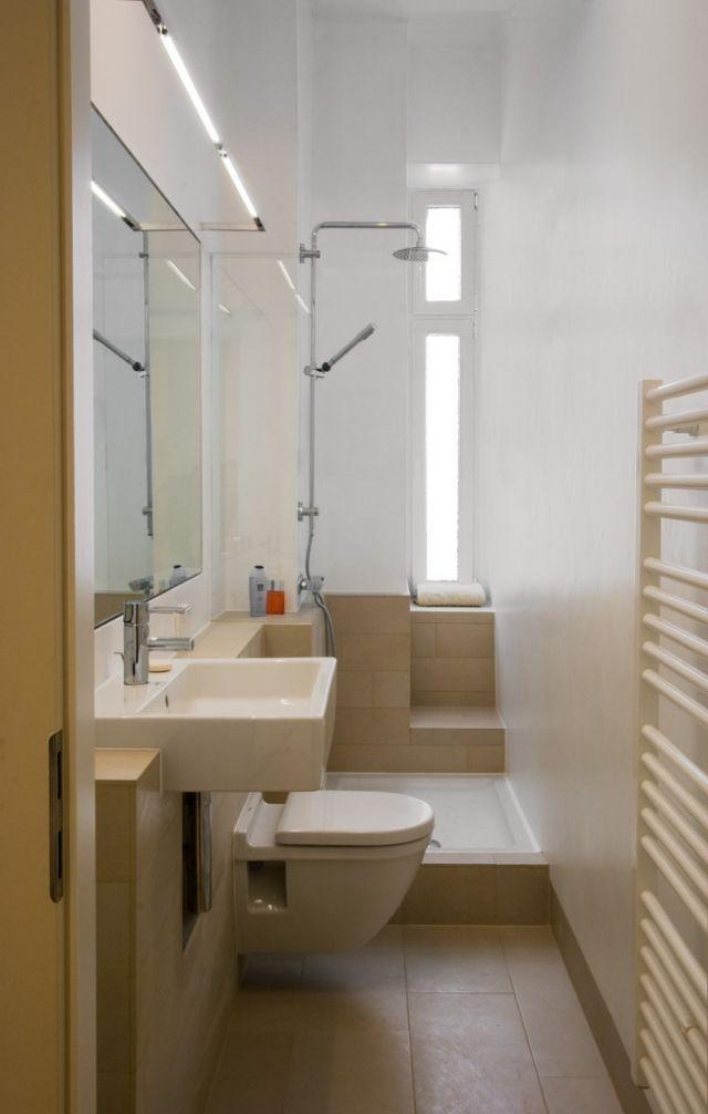 ideen-kleine-bader-schmales-badezimmer-dusche-beige-bodenfliesen - badezimmer mit dusche