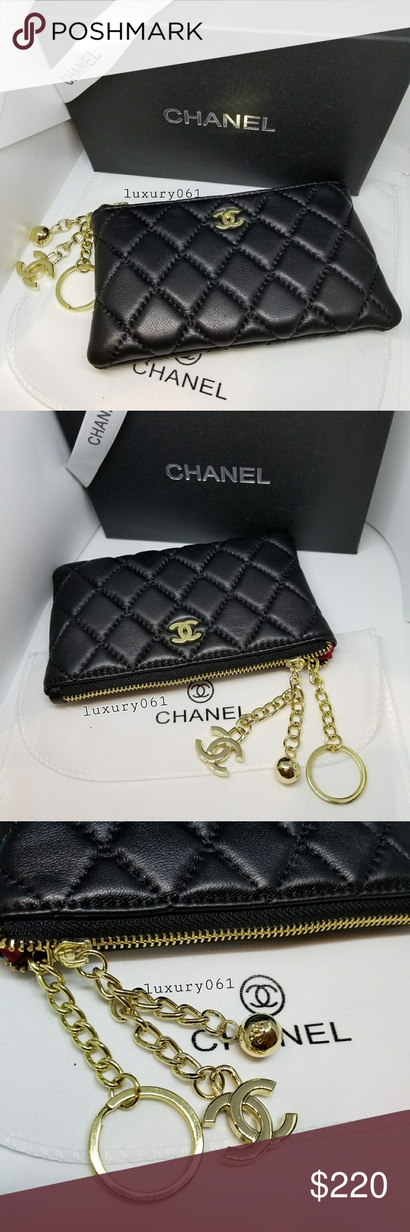 5c033d4c2a240c Chanel VIP gift coins purse. Authentic brand new Chanel VIP gift lamb black  leather with