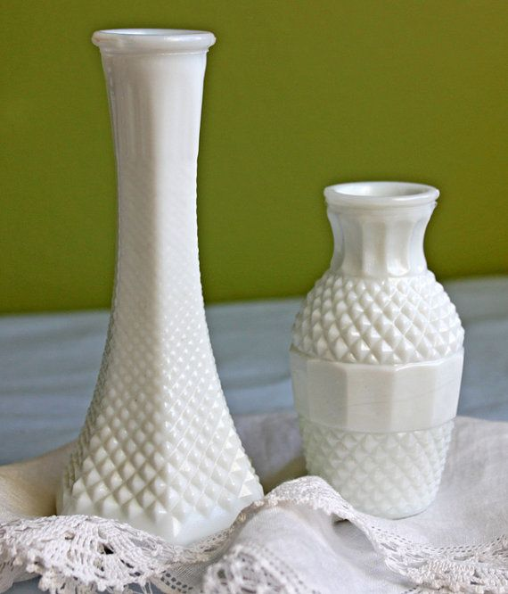 Milk Glass Small Vases With Diamond Pattern Collectibles For Home