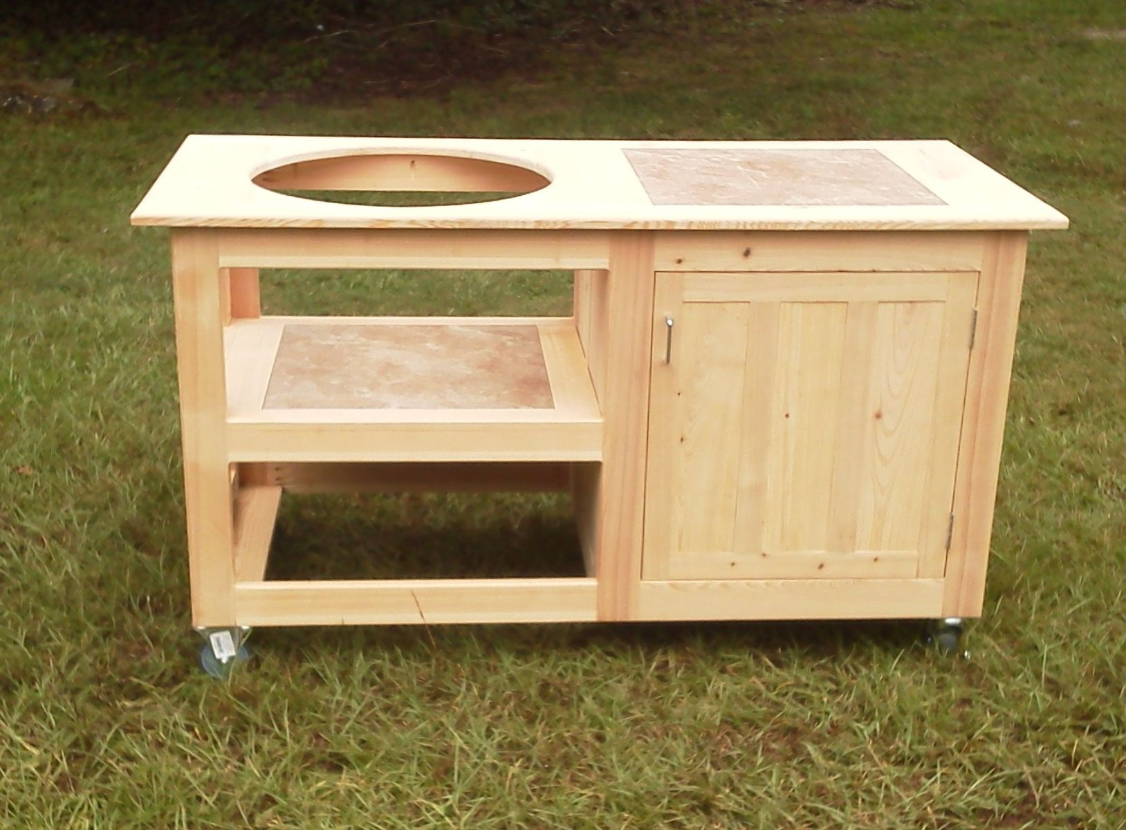 Hand Made Cypress Table For A Ceramic Grill By Matthews Woodcrafters