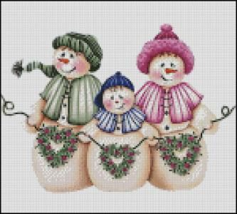 Sweet Snowman Family Cross Stitch Pattern By Graywolf2u ClipartChristmas