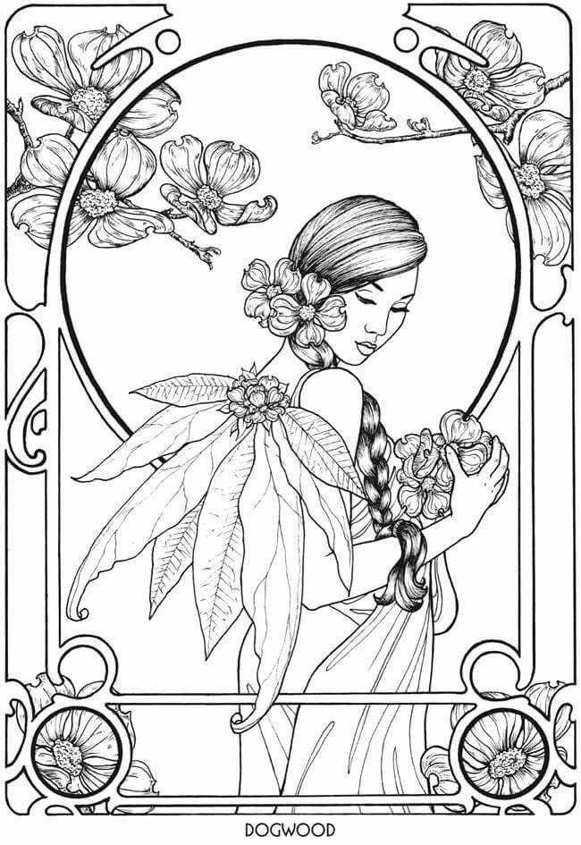 Art nouveau fairy coloring page   Coloring pages   Pinterest ...