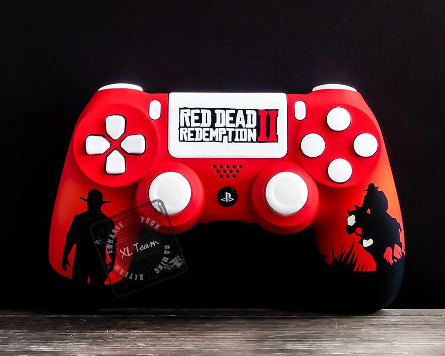 Custom Red Dead Redemption 2 Themed Playstation 4 Ps4 Dualshock 4 Controller Red Dead Redemption Redemption Dualshock