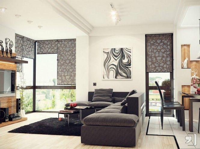 Black-white-gray-living-room Schwarz-weiß-grau-Wohnzimmer - wohnzimmer design schwarz weis
