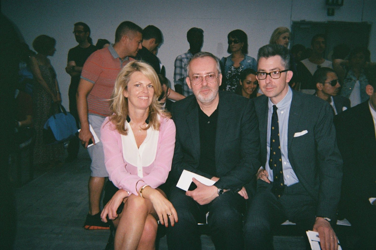 Team GQ — Madeline Weeks, Jim Moore and Michael Hainey — in Milan.