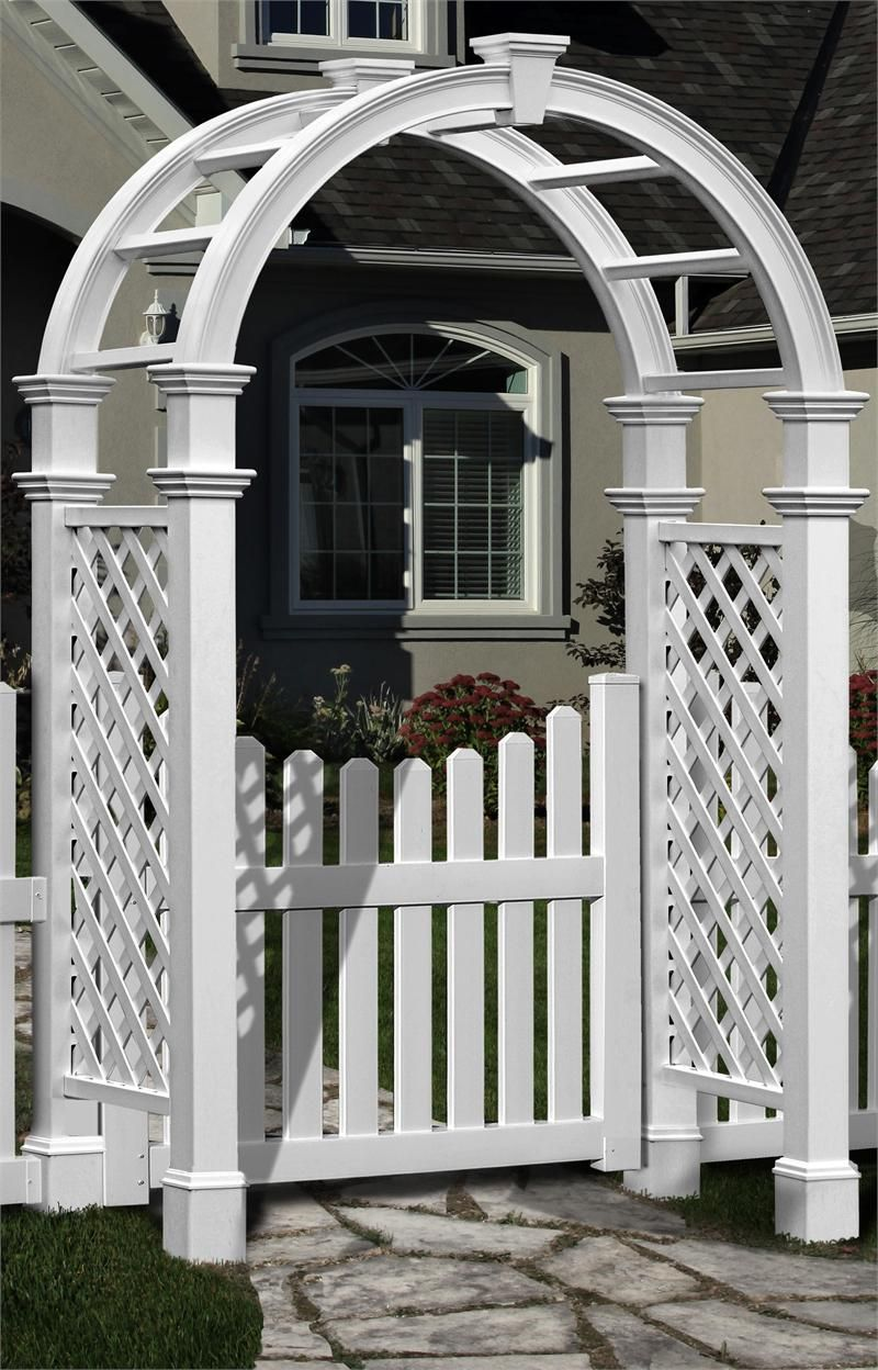 Nantucket II Vinyl Arbor With Vinyl Cottage Picket Gate I Vinyl Garden  Arbors The Cottage Yard