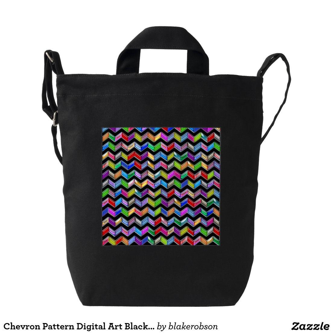Chevron Pattern Digital Art Black Stripes Duck Canvas Bag