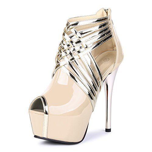 Fereshte Womens Sexy Fashion Peep-toe Stripe Sandals Supe...