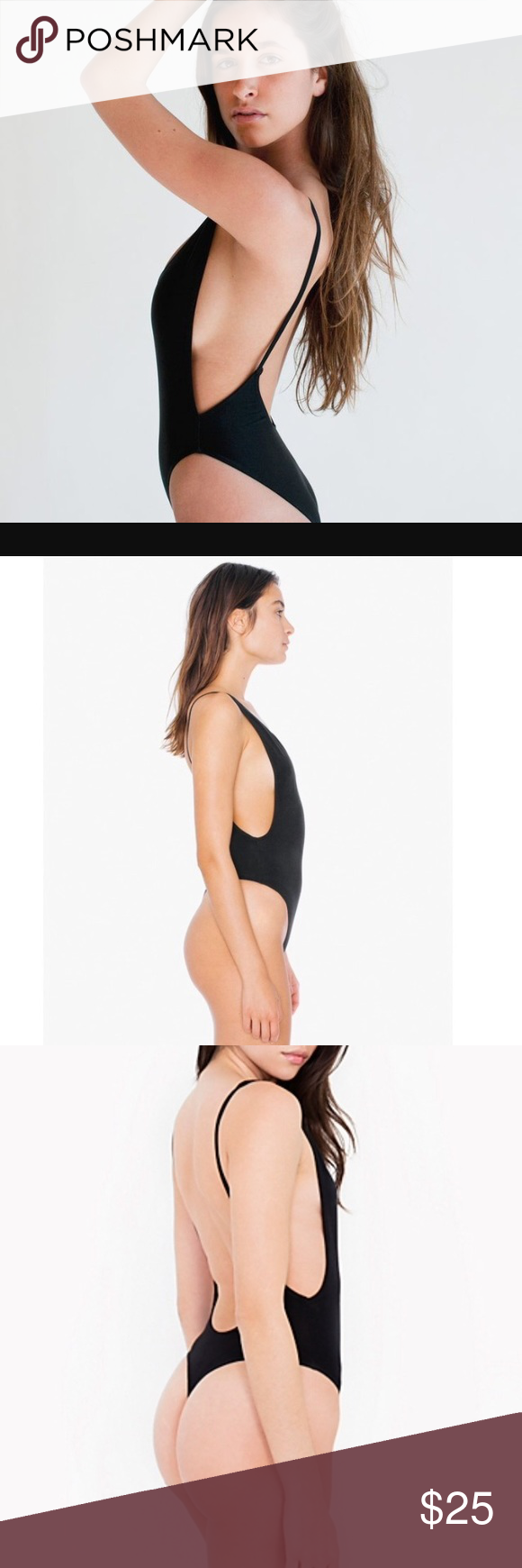 American Apparel black deep cut low back bodysuit Size S ee4b53e81
