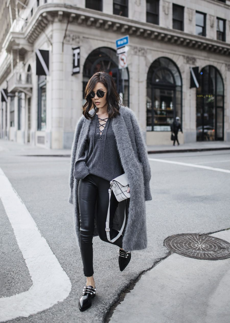 Gucci Round Sunglasses, byTSANG, Grey Fuzzy Cardigan Coat, Vince Lace-up sweater, Proenza Schouler PS11, Coliac, Luisaviaroma, Pearl shoes