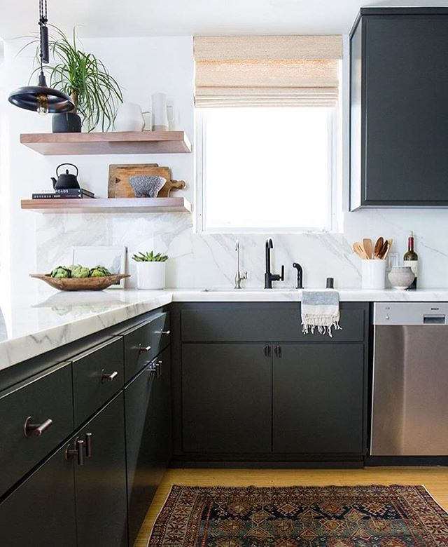 dark cabinets + marble + wood shelving | Small Kitchens | Pinterest