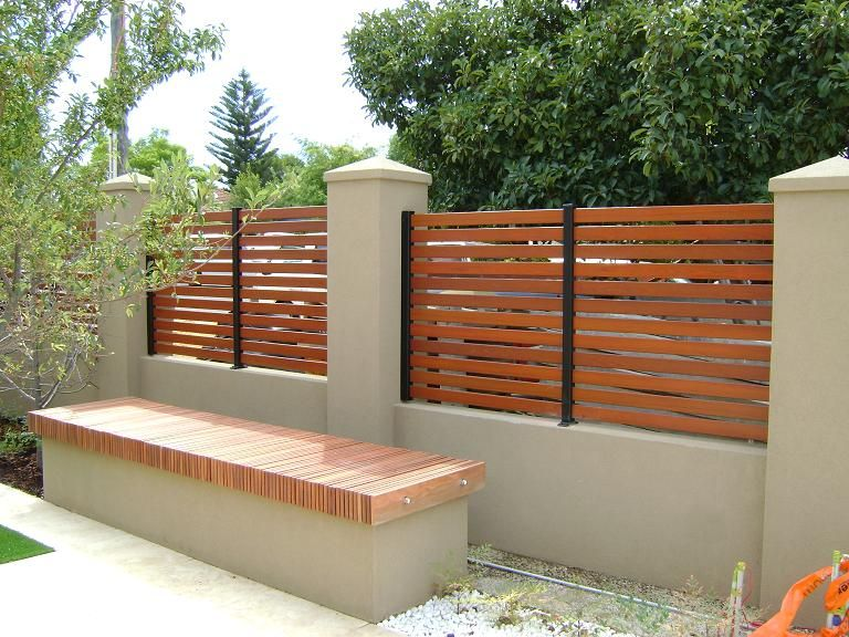 Stucco Fence Designs Horizontal privacy fence ideas timber look aluminium slat fence slats with stucco welcome to fence work workwithnaturefo