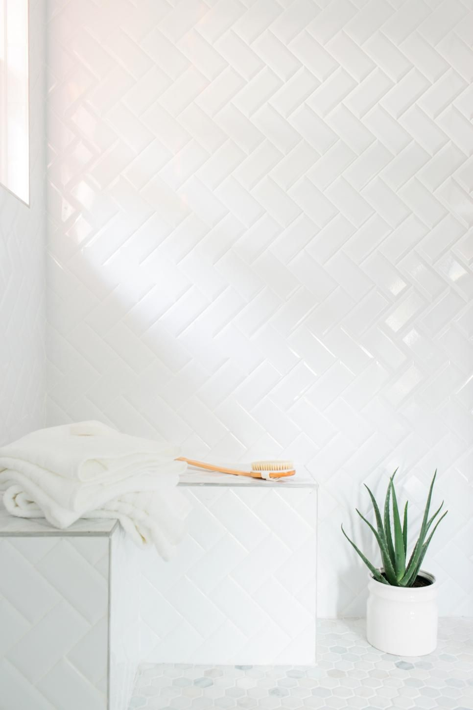 An Inexpensive Alternative To More Pricey Tiles, Simple Subway Tiles Were  Installed In A Herringbone Part 92