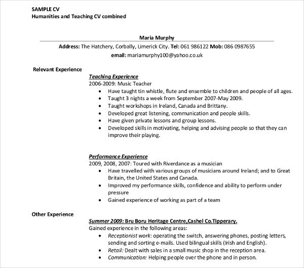 United Kingdom Curriculum Vitae Cv Example: Teaching Cv Template Ireland
