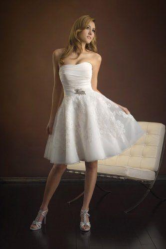 A-Linie natürliche Taille Organza elegantes trägerloses knielanges Brautkleid