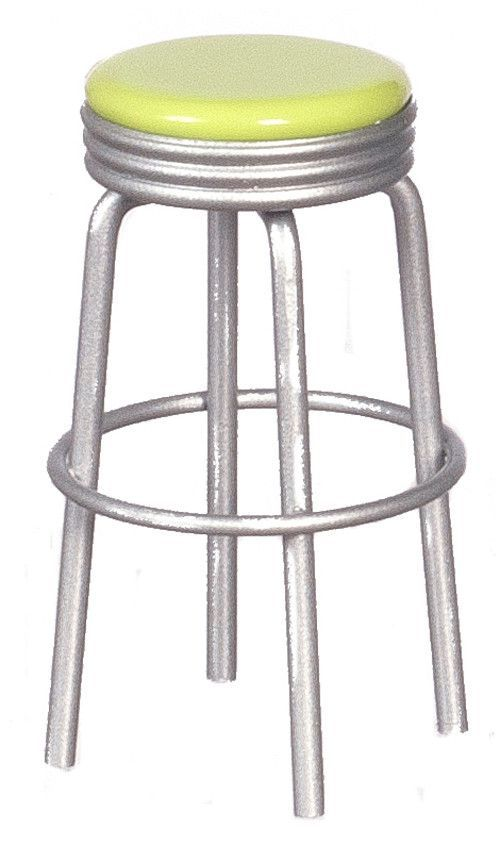 1950 S Style Kitchen Stool Silver With Lime Green Kitchen Stools Kitchen Styling Stool