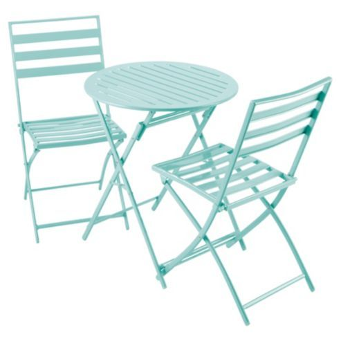 Buy Milan Folding Metal Bistro Set - Aqua from our Garden Chairs ...