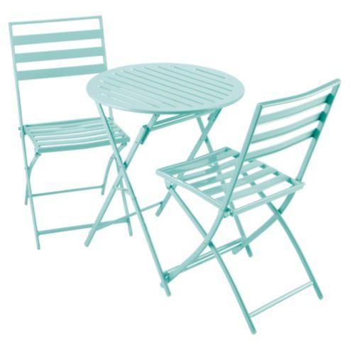 Buy Milan Folding Metal Bistro Set   Aqua from our Garden Chairs range    Tesco. Buy Milan Folding Metal Bistro Set   Aqua from our Garden Chairs