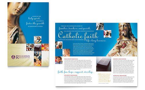 Catholic Parish and School Brochure Template by @StockLayouts - school brochure template