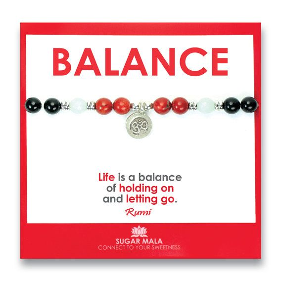 Balance Healing Bracelet, Inspirational Quote Card, Buddhist Gemstone  Crystal Set Kit, Wrist Mala