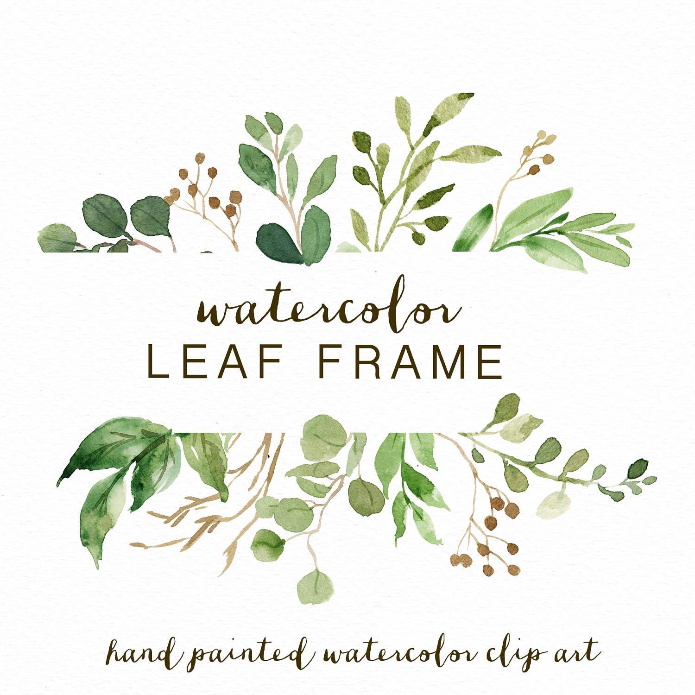 5571835969b7 Watercolor Leaf frame leaves wedding invitation clipart  Eucalyptus Wild  Leaf