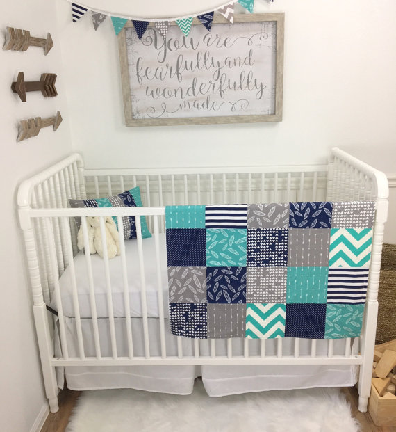 Baby Boy Blanket Woodland Nursery Decor Minky Patchwork Quilt Navy Blue Teal