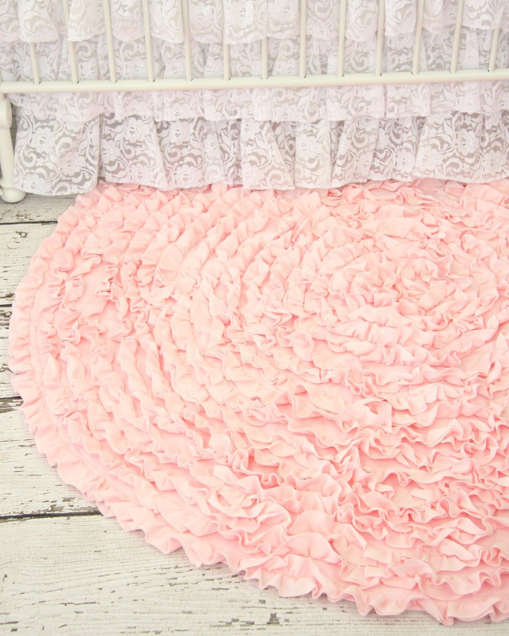 light pink ruffle rug  vintage inspired nursery and ruffles - how sweet is this ruffle rug for a pink vintage inspired nursery
