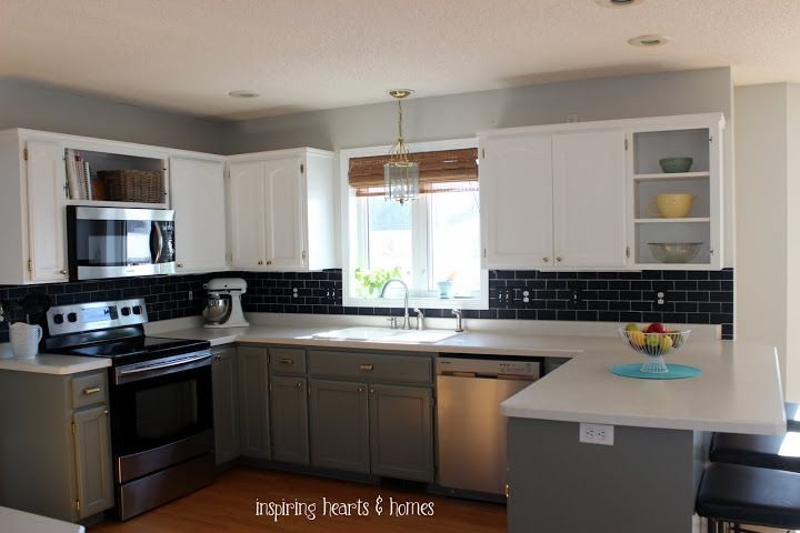 Benjamin Moore Gray Owl Walls Lower Cabinets Benjamin Moore Desert Twilight Grey Paint Colors Subway Tile Backsplash Grey Paint
