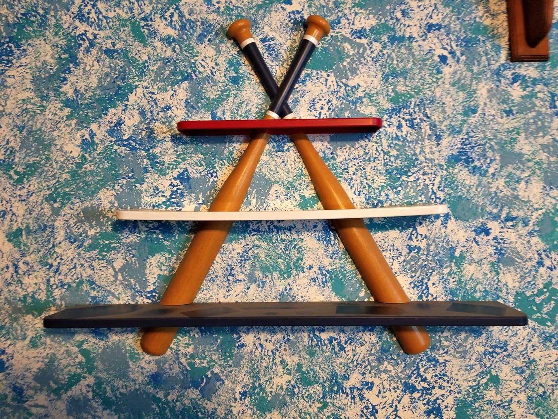 Creative way to decorate with baseball bats baseball bat