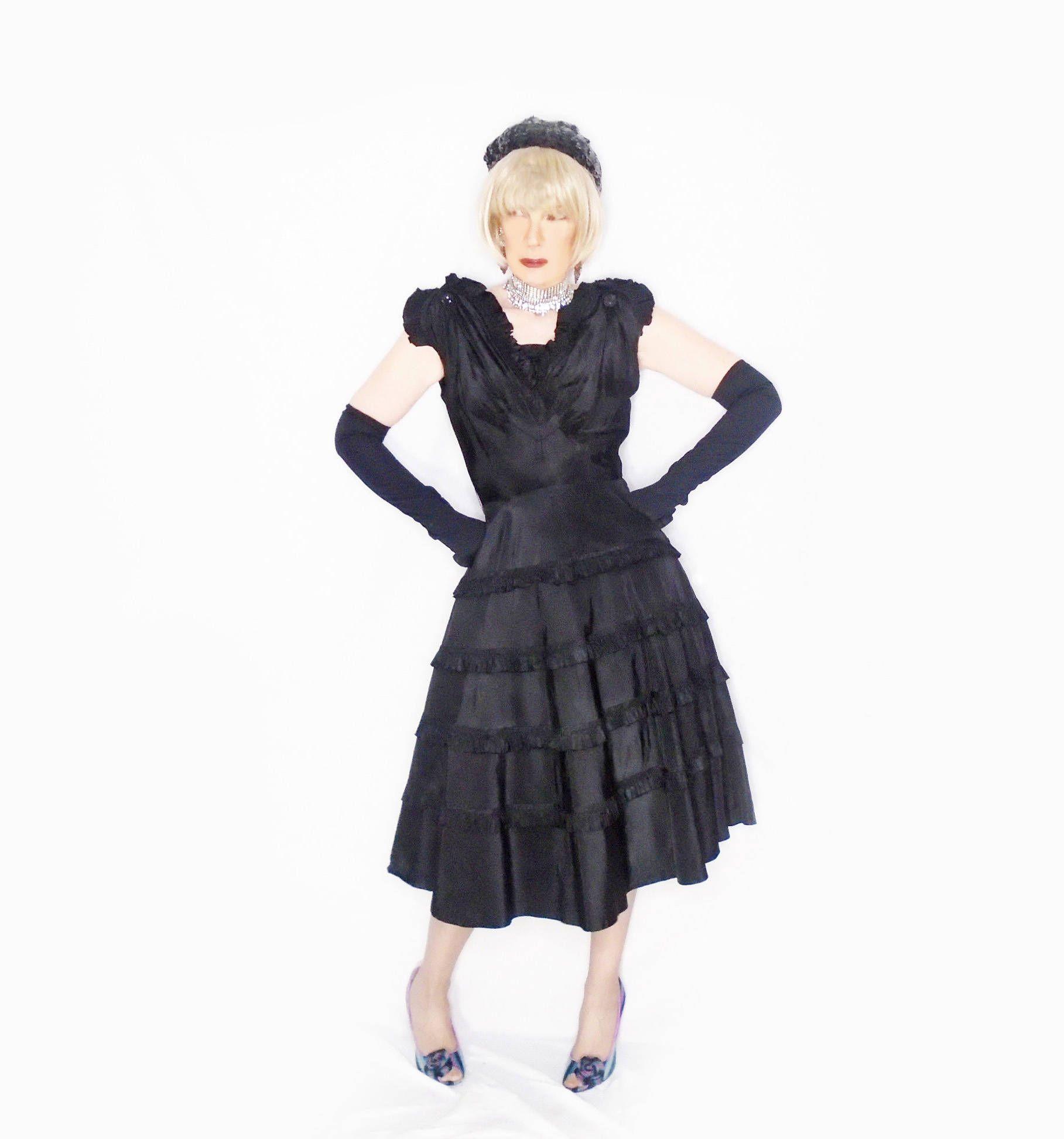 Wedding Guest Dress for Women, Black Cocktail Dress, 40s Black ...