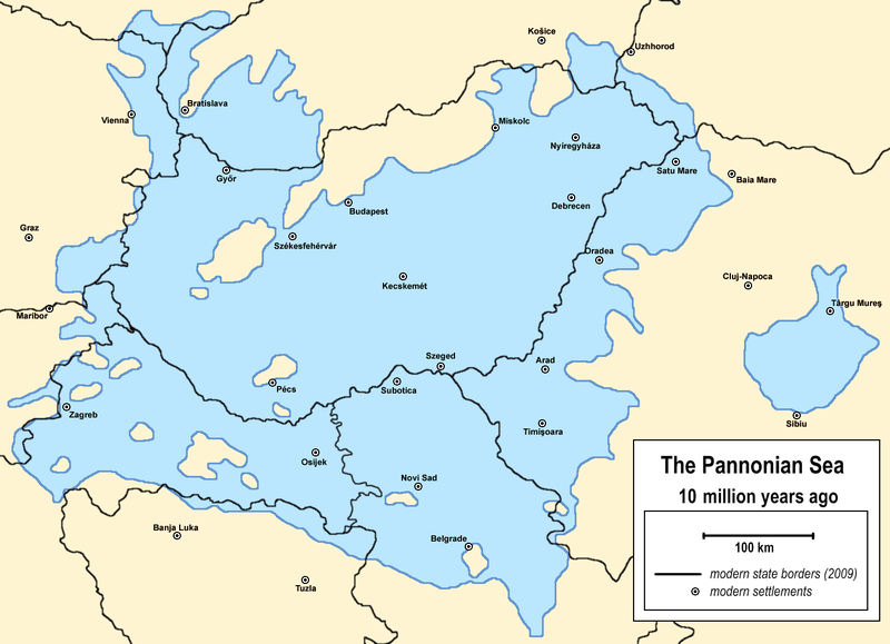 Miocene World Map.The Pannonian Sea During The Miocene Epoch With Modern Borders And