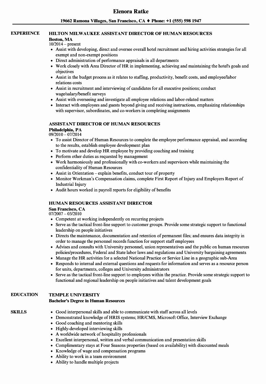 Human resource assistant resume awesome human resources